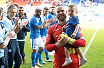 St Johnstone v Ross County…12.05.18…  McDiarmid Park    SPFL<br />Alan Mannus and son Mason are applauded off the pitch<br />Picture by Graeme Hart. <br />Copyright Perthshire Picture Agency<br />Tel: 01738 623350  Mobile: 07990 594431