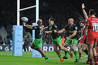 Paul Lasike of Harlequins (left) celebrates scoring a try during Big Game 12 in the Gallagher Premiership Rugby match between Harlequins and Leicester Tigers at Twickenham Stadium on Saturday 28th December 2019 (Photo by Rob Munro/Stewart Communications)