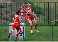 20160520 - TUBIZE , BELGIUM : Standard's Aline Zeler pictured celebrating her goal  during a soccer match between the women teams of RSC Anderlecht and Standard Femina de Liege , during the sixth and last matchday in the SUPERLEAGUE Playoff 1 , Friday 20 May 2016 . PHOTO SPORTPIX.BE / DAVID CATRY