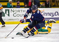 "8 February 2020: University of Connecticut Huskies Forward Natalie Snodgrass, a Junior from Eagan, MN, breaks towards the net to score the opening goal of the game, her 11th of the season, against the University of Vermont Catamounts during their ""Pack The Gut"" event where the attendance reached 1163 at Gutterson Fieldhouse in Burlington, Vermont. The Huskies defeated the Lady Cats 4-2 in the first game of their weekend Hockey East series. Mandatory Credit: Ed Wolfstein Photo *** RAW (NEF) Image File Available ***"