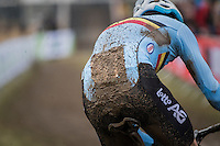 Wout Van Aert (BEL/Crelan-Willems) leading the race wearing muddy race number #1...<br /> <br /> Elite Men's Race<br /> UCI 2017 Cyclocross World Championships<br /> <br /> january 2017, Bieles/Luxemburg