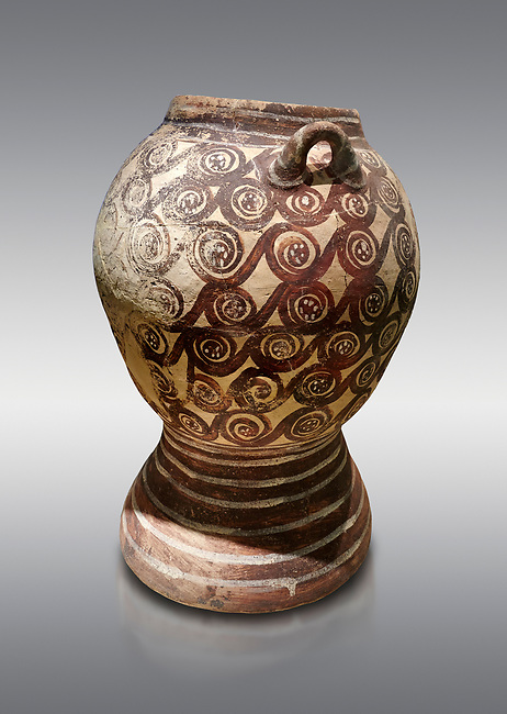 Minoan Theran style strainer jar decorated with spirals on a dark background, Akrotiri, Thira (Santorini) National Archaeological Museum Athens. 17th-16th cent BC.<br /> <br /> This style of strainer jar is characteristic of Theran Minoan pottery also found on Minoan Crete. A strainer incorporated into the jar probably allowed it to be used in the manufacture of aramatic oils or as an incense burner.