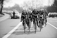 Dwars door Vlaanderen 2012.RadioshackNissanTrek Team on course-recon during Dwars Door Vlaanderen