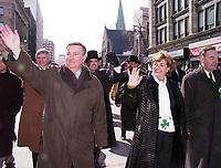 Defile de la  St-Patrick le 14 Mars 1999 - Le Maire Pierre Bourque et Sheila Copps<br /> <br /> 1999 St-Patrick Day Parade in Montreal, CANADA<br /> <br /> PHOTO : Agence Quebec Presse - Pierre Roussel
