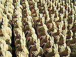 Miniature replicas of Terracotta Army buried with the Emperor of Qin ni 209-210 BC in Xian, China.