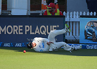 NZ's Devon Conway fields on the boundary during day two of the second International Test Cricket match between the New Zealand Black Caps and West Indies at the Basin Reserve in Wellington, New Zealand on Friday, 11 December 2020. Photo: Dave Lintott / lintottphoto.co.nz