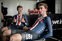 Brandon McNulty (USA/UAE Emirates) waiting backstage for the final results while being photobombed by Lawson Craddock (USA/EF Education - Nippo)<br /> <br /> Mixed Relay TTT <br /> Team Time Trial from Knokke-Heist to Bruges (44.5km)<br /> <br /> UCI Road World Championships - Flanders Belgium 2021<br /> <br /> ©kramon