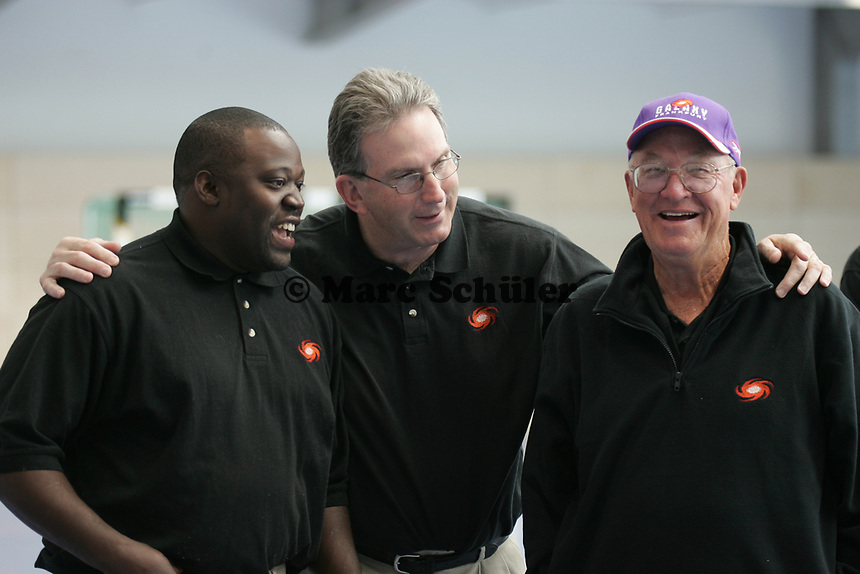 Head Coach Mike Jones mit Defensive Coordinator Ed O' Neil und Offensive Coordinator Whitey Jordan (vlnr, alle Frankfurt Galaxy)