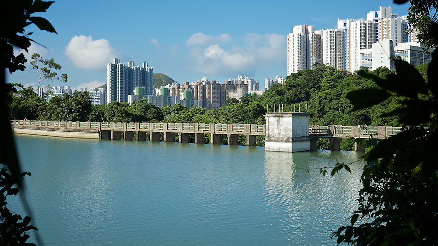The dam wall and valve house on the Lower Aberdeen Reservoir, Hong Kong Island.