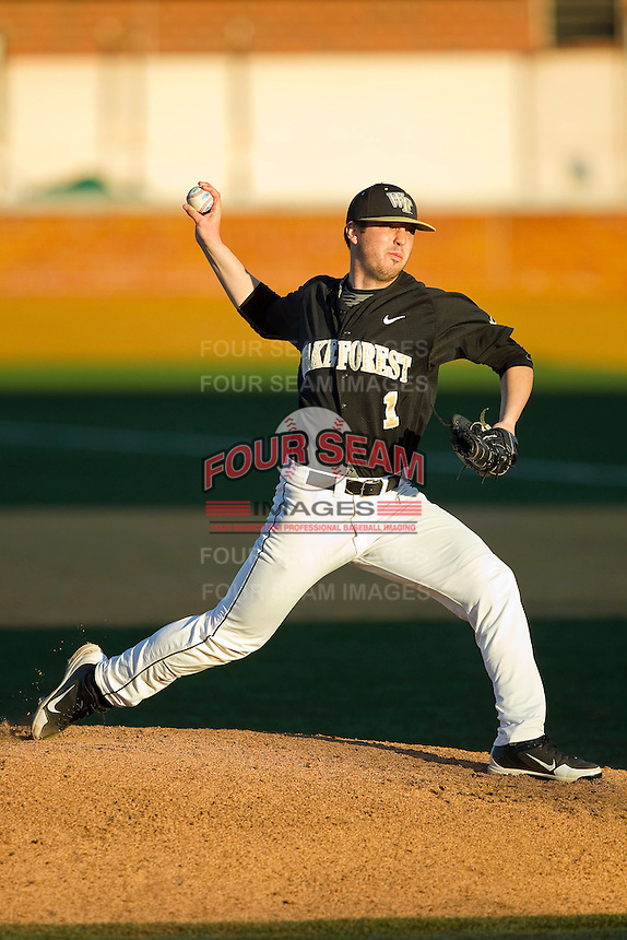 Wake Forest Demon Deacons starting pitcher Matt Pirro (1) in action against the West Virginia Mountaineers at Wake Forest Baseball Park on February 24, 2013 in Winston-Salem, North Carolina.  The Demon Deacons defeated the Mountaineers 11-3.  (Brian Westerholt/Four Seam Images)