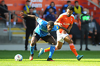 Swindon Town's Anthony Grant under pressure from Blackpool's Grant Ward<br /> <br /> Photographer Kevin Barnes/CameraSport<br /> <br /> The EFL Sky Bet League One - Blackpool v Swindon Town - Saturday 19th September 2020 - Bloomfield Road - Blackpool<br /> <br /> World Copyright © 2020 CameraSport. All rights reserved. 43 Linden Ave. Countesthorpe. Leicester. England. LE8 5PG - Tel: +44 (0) 116 277 4147 - admin@camerasport.com - www.camerasport.com