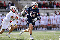 College Park, MD - February 15, 2020: Penn Quakers midfielder Piper Bond (54) runs with the ball during the game between Penn and Maryland at  Capital One Field at Maryland Stadium in College Park, MD.  (Photo by Elliott Brown/Media Images International)