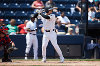 Andrew Velazquez (1) of the Scranton/Wilkes-Barre RailRiders at bat against the Rochester Red Wings at PNC Field on July 25, 2021 in Moosic, Pennsylvania. (Brian Westerholt/Four Seam Images)