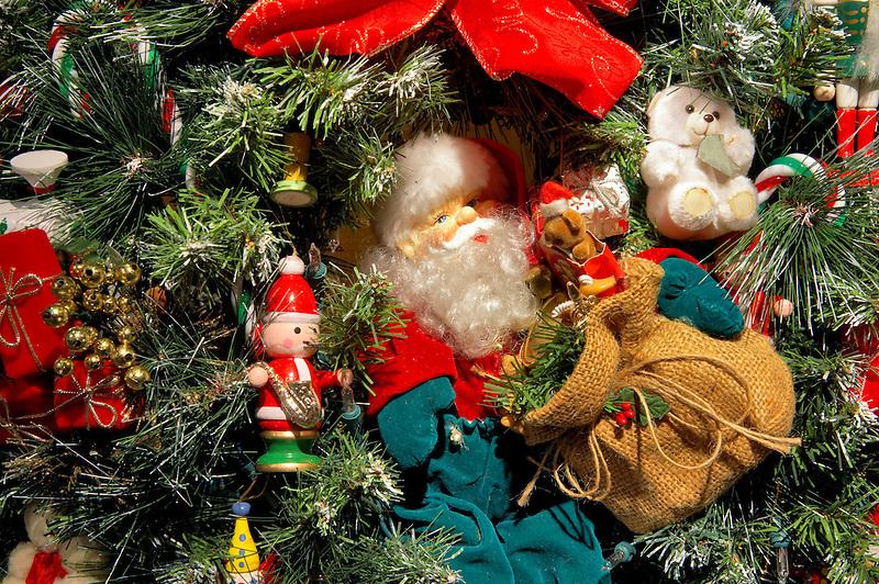 Christmas wreath with santa. Providence Festival of Trees. Portland. Oregon