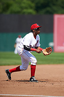 Auburn Doubledays third baseman Omar Meregildo (18) during the second game of a doubleheader against the Mahoning Valley Scrappers on July 2, 2017 at Falcon Park in Auburn, New York.  Mahoning Valley defeated Auburn 3-2.  (Mike Janes/Four Seam Images)