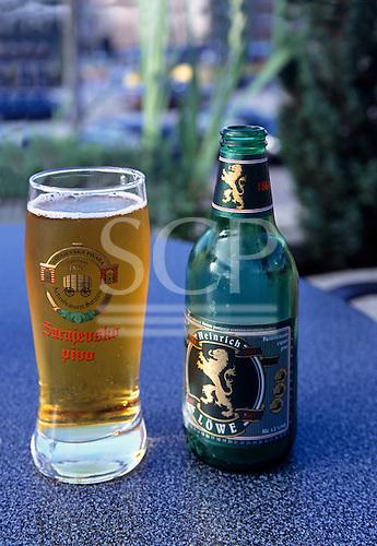 Sarajevo, Bosnia. Sarajevo Beer glass and bottle of Heinrich Lowe beer.