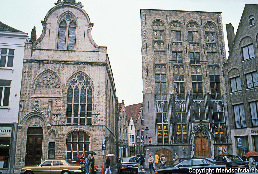 Bruges: Beursplein (after a tradesman named Van Der Beurse  (13th C.)  The Huis Ter Beurse, right, is 15th C. Photo '87.