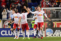 Harrison, NJ - Wednesday Feb. 22, 2017: Felipe Martins, Sacha Kljestan during a Scotiabank CONCACAF Champions League quarterfinal match between the New York Red Bulls and the Vancouver Whitecaps FC at Red Bull Arena.