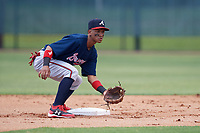 Atlanta Braves Luidemid Rojas (13) during a Minor League Extended Spring Training game against the Philadelphia Phillies on April 20, 2018 at Carpenter Complex in Clearwater, Florida.  (Mike Janes/Four Seam Images)