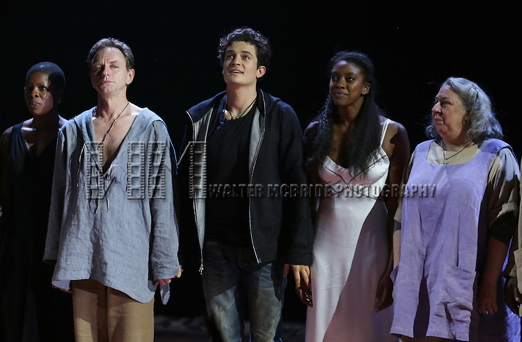 "Roslyn Ruff, Brent Carver, Orlando Bloom, Condola Rashad, Jayne Houdyshell during the ""Romeo And Juliet"" On Broadway First Performance Curtain Call at the Richard Rodgers Theatre in New York City on 8/24/2013"