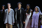 """Roslyn Ruff, Brent Carver, Orlando Bloom, Condola Rashad, Jayne Houdyshell during the """"Romeo And Juliet"""" On Broadway First Performance Curtain Call at the Richard Rodgers Theatre in New York City on 8/24/2013"""