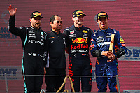 Podium, Austrian GP Formula 1 2021: Bottas (mercedes), Tanabe (honda) Verstappen (redBull), Norris (McLaren); Formula 1 World championship 2021, Austrian GP 4-7-2021Photo Federico Basile / Insidefoto