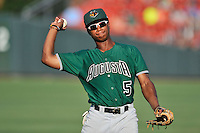 Second baseman Jalen Miller (5) of the Augusta GreenJackets warms up before a game against the Greenville Drive on Friday, June 10, 2016, at Fluor Field at the West End in Greenville, South Carolina. Greenville won, 5-4. (Tom Priddy/Four Seam Images)