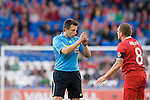 Referee Gerhard Grobelnik shows his whistle to Craig Bellamy of Wales during the Wales v Norway Vauxhall international friendly match at the Cardiff City Stadium in South Wales..Editorial use only.