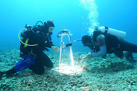 reasearchers photo documenting algae species, French Frigate shoals, Papahanaumokuakea Marine National Monument, Northwestern Hawaiian Islands, Hawaii, USA, Pacific Ocean