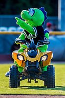 16 July 2017: The Vermont Lake Monsters Mascot Champ entertains the fans between innings of a game against the Auburn Doubledays at Centennial Field in Burlington, Vermont. The Monsters defeated the Doubledays 6-3 in NY Penn League action. Mandatory Credit: Ed Wolfstein Photo *** RAW (NEF) Image File Available ***
