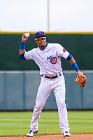 Iowa Cubs shortstop Addison Russell (3) makes a throw to the third baseman between innings during a Pacific Coast League game against the San Antonio Missions on May 2, 2019 at Principal Park in Des Moines, Iowa. Iowa defeated San Antonio 8-6. (Brad Krause/Four Seam Images)