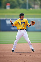 Gavin Cecchini (17) of the Salt Lake Bees during the game against the Las Vegas Aviators at Smith's Ballpark on July 25, 2021 in Salt Lake City, Utah. The Aviators defeated the Bees 10-6. (Stephen Smith/Four Seam Images)