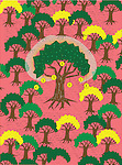 Illustrative image of currency signs hanging on tree representing business growth