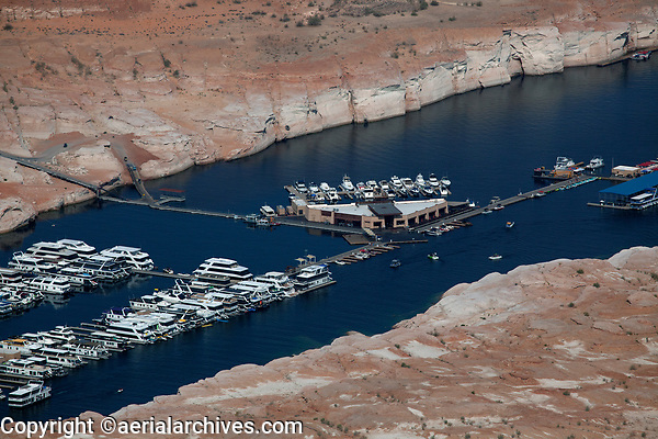 aerial photograph of Antelope Point Marina, Lake Powell, Arizona during a severe drought, ramps to access the marina have been significantly lowered