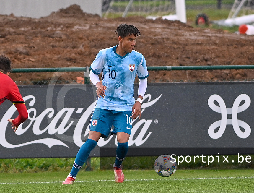 Antonio Nusa (10) of Norway pictured in action during a soccer game between the national teams Under17 Youth teams of  Norway and Belgium on day 3 in the Qualifying round in group 3 on Tuesday 12 th of October 2020  in Tubize , Belgium . PHOTO SPORTPIX   DAVID CATRY