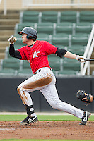 Trey Michalczewski (27) of the Kannapolis Intimidators follows through on his swing against the West Virginia Power at CMC-Northeast Stadium on April 30, 2014 in Kannapolis, North Carolina.  The Intimidators defeated the Power 2-1 in game one of a double-header.  (Brian Westerholt/Four Seam Images)