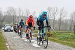 The breakaway featuring Yevgeniy Federov (KAZ) Astana Premier-Tech, Matis Louvel (FRA) Arkea Samsic,  Kenny De Ketele (BEL) Sport Vlaanderen-Baloise, Bert De Backer (BEL) B&B Hotels/KTM and Ryan Gibbons (RSA) UAE Team Emirates during the 76th edition of Omloop Het Nieuwsblad 2021 running 200km from Gent to Ninove, Belgium. 27th February 2021  <br /> Picture: Serge Waldbillig | Cyclefile<br /> <br /> All photos usage must carry mandatory copyright credit (© Cyclefile | Serge Waldbillig)