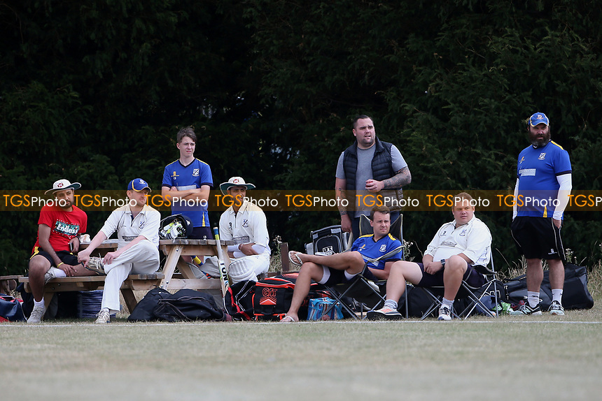 Upminster players look on during Goresbrook CC vs Upminster CC (batting), Essex Cricket League at May & Baker Sports Club on 1st August 2020