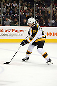 February 17th 2007:  Andrew Ference (21) of the Boston Bruins brings the puck up ice vs. the Buffalo Sabres at HSBC Arena in Buffalo, NY.  The Bruins defeated the Sabres 4-3 in a shootout.