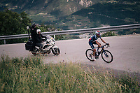 US National Champion Larry Warbasse (USA/Aqua Blue Sport) leading the race<br /> <br /> Stage 5: Gstaad > Leukerbad (155km)<br /> 82nd Tour de Suisse 2018 (2.UWT)