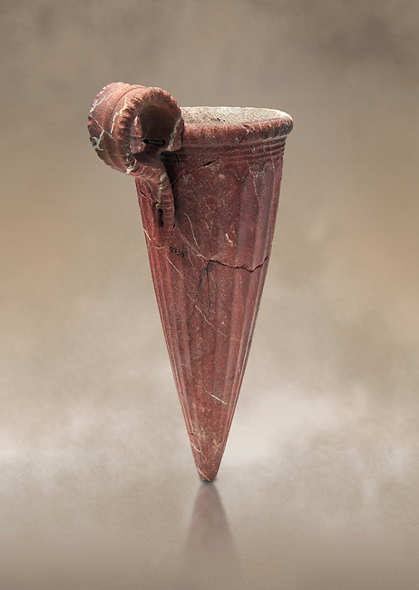 Minoan stone conical rhython with fluted decoration, Zakros 1500-1400 BC; Heraklion Archaeological  Museum.
