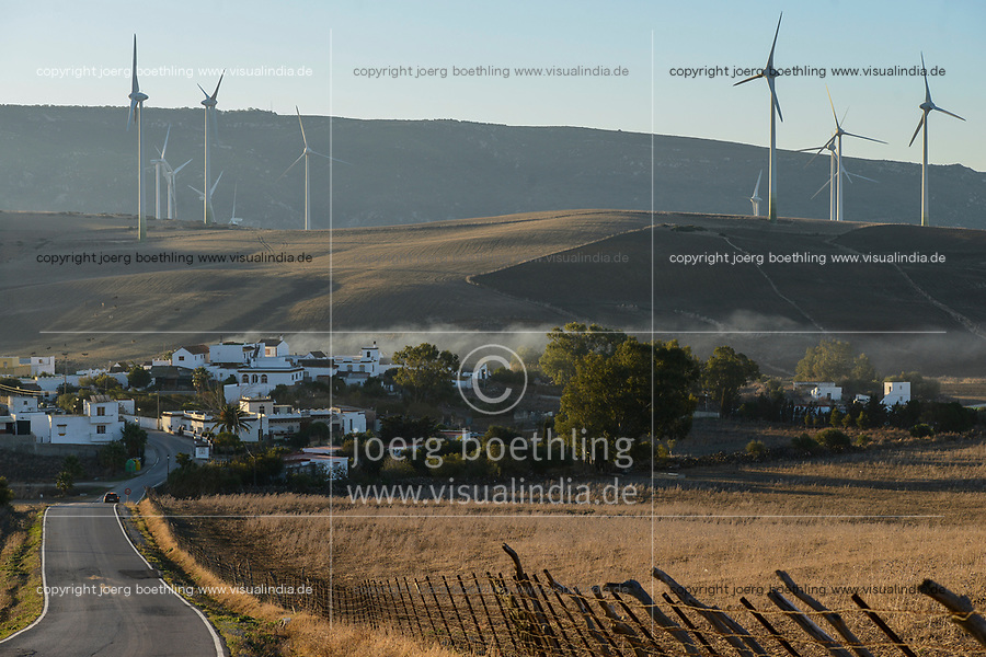Spain, Andalusia, Cadiz, village Al Marchal, wind farm in the mountains