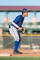 AZL Rangers third baseman Jonathan Ornelas (10) during an Arizona League game against the AZL Giants Black at Scottsdale Stadium on August 4, 2018 in Scottsdale, Arizona. The AZL Giants Black defeated the AZL Rangers by a score of 3-2 in the first game of a doubleheader. (Zachary Lucy/Four Seam Images)
