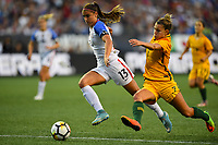 Seattle, WA - Thursday July 27, 2017: Alex Morgan, Steph Catley during a 2017 Tournament of Nations match between the women's national teams of the United States (USA) and Australia (AUS) at CenturyLink Field.