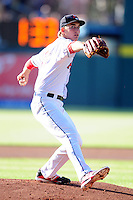 Henry Owens (33) of the Pawtucket Red Sox delivers a warm up pitch prior to the game versus the Louisville Bats at McCoy Stadium on May 30, 2015 in Pawtucket, Rhode Island.<br />