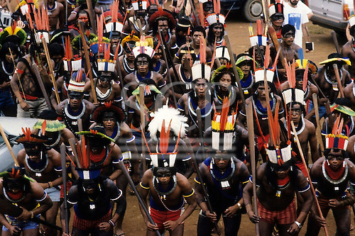 Altamira, Brazil. Group of Indians from several tribes at Altamira protest again proposed dams. Para State.