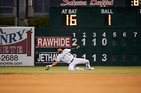 Lancaster JetHawks right fielder Willie Abreu (13) attempts a sliding catch during a California League game against the Visalia Rawhide at The Hangar on May 17, 2018 in Lancaster, California. Lancaster defeated Visalia 11-9. (Zachary Lucy/Four Seam Images)