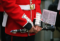 Pictured: A clarinet held by a Welsh Guard as he parades through Castle Square in Swansea.  Friday 15 September 2017<br /> Re: Soldiers from the Welsh Guards have exercised their freedom to march through the streets of Swansea in Wales, UK.<br /> The Welsh warriors paraded with bayonets-fixed from the city centre to the Brangwyn Hall, where the Lord Mayor of Swansea took a salute.