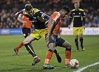 James Justin of Luton Town in action with John Lundstram of Oxford United during the The Checkatrade Trophy Semi Final match between Luton Town and Oxford United at Kenilworth Road, Luton, England on 1 March 2017. Photo by Stewart  Wright  / PRiME Media Images.