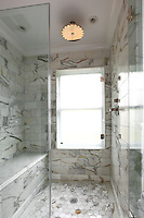 Shower with marble tiles